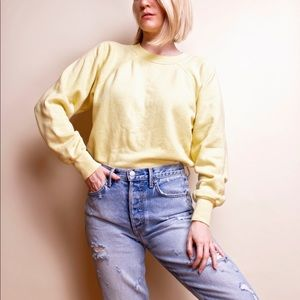 Vintage 80s yellow faded crewneck sweater